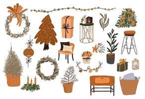 conjunto de elementos de desenho animado de natal para decoração interna vetor