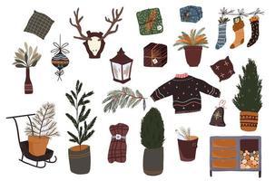 conjunto de elementos de desenho animado de natal para decoração interna
