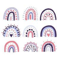 decorações escandinavas de arco-íris fofas vetor