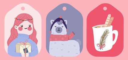 autocolante de férias de natal, diário, conjunto de etiquetas vetor