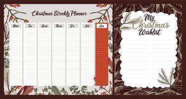 planejador semanal de feriado de natal, diário, conjunto de notas vetor