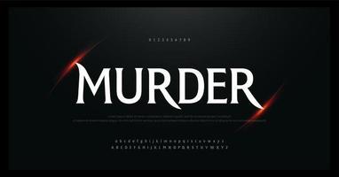 terror, alfabeto de filme assustador e fonte de números vetor