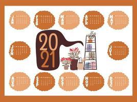 calendário feriado 2021 com plantas vetor