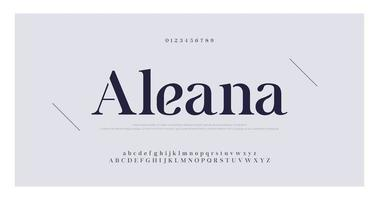 número serif elegante e fonte de letras