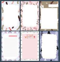 adesivo de feriado de natal, diário, conjunto de notas vetor