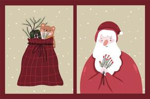 cartões de celebração do feriado de natal vetor