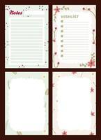 diário de férias de natal, bloco de notas vetor