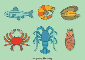 Vector de coleção de frutos do mar desenhado à mão