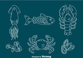 vetor de coleção de frutos do mar de esboço