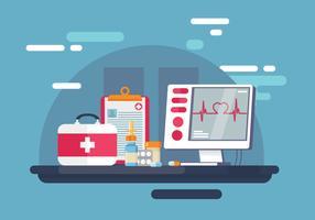 Vector de ritmo cardíaco e elementos médicos gratuitos