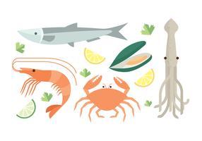 Set de frutos do mar grátis vetor