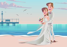 Um casal no seu vetor de casamento de praia