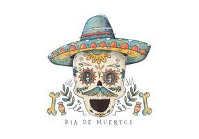 Cute Ornamental Sugar Skull para Dia De Los Muertos Vector