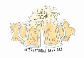 Vetor do dia da cerveja da aguarela