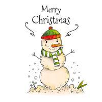 Natal bonito do boneco de neve com neve vetor