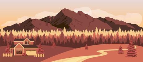 pôr do sol nas montanhas vetor