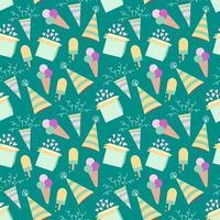 padrão de aniversário sem costura com sorvete