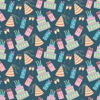 padrão de aniversário sem costura com bolo