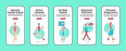 telas de aplicativos móveis de integração de cuidados de saúde em geral vetor