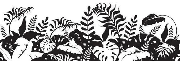 silhuetas negras de plantas tropicais vetor