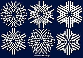 Flocos de neve lisos de vetor de 8 bits
