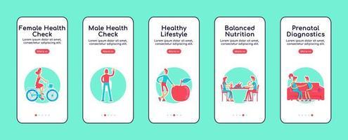 verificação de saúde feminina e masculina em telas de aplicativos móveis vetor