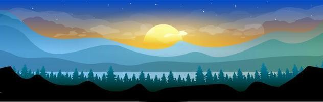 nascer do sol na floresta vetor