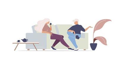 homem e mulher tomando café vetor