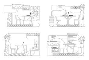 esboço de design de interiores de escritório moderno vetor