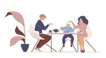café da manhã família na mesa vetor