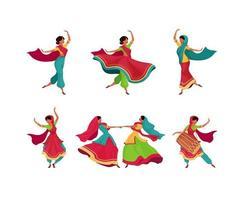 conjunto de personagens de celebração do feriado indiano vetor