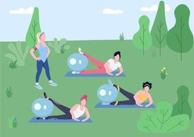 aula de pilates ao ar livre vetor