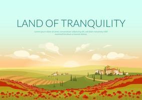 cartaz de terra da tranquilidade vetor