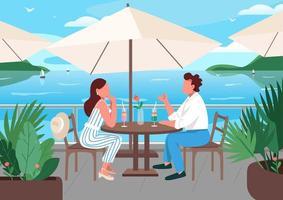 amigos tomando café da manhã no café do resort à beira-mar