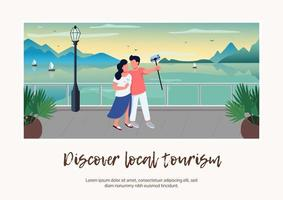 descobrir banner de turismo local vetor