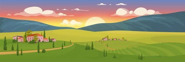 nascer do sol de verão na vila vetor