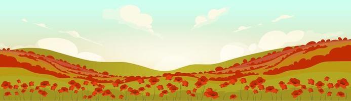 campo de papoula toscana ao nascer do sol vetor