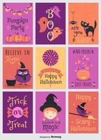 Cartões coloridos coloridos do vetor do Dia das Bruxas dos desenhos animados