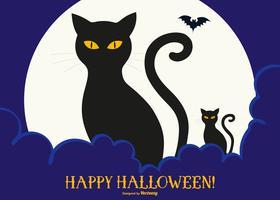Ilustração bonito do Dia das Bruxas dos gatos pretos bonitos