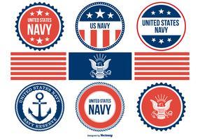 Coleção de emblemas de marinha variada vetor