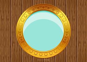 porthole em fundo de madeira vetor
