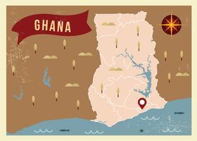 Vetor da ilustração do mapa de Ghana do vintage