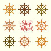 Ícones de madeira da roda do navio vetor