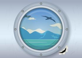 Janela do navio e vista do oceano vetor