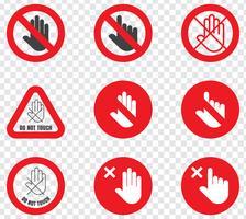 Sinal de Proibição Não Toque vetor