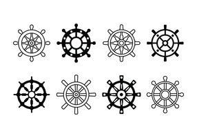 Ícones do conjunto da roda do navio vetor