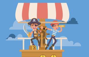Jovens crianças brincando pirata vetor
