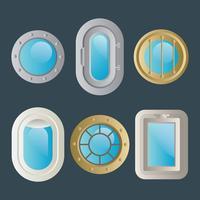 Ícones do vetor da janela do navio