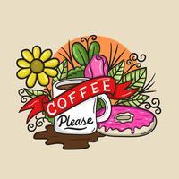 Café por favor, caneca, vetor