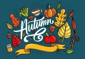 Vector de letras de folhas de outono